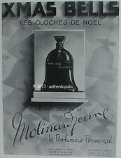 PUBLICITE PARFUM MOLINARD XMAS BELLS LES CLOCHES DE NOEL FLEUR DE 1929 FRENCH AD