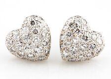 Cartier 18k White Gold Pavé 1.00 carat Colorless VVS Diamond Heart Earrings