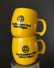 Southwestern Bell Yellow Pages Plastic Yellow Mugs Telephone Texas Made USA
