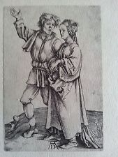 Durer 4x2.75 engraving 1497 b 83 original signed the peasant and his wife singin