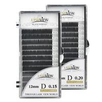 Lashview Flat Eyelash Extensions .15 & .20mm B C D Ultra Soft Light Pro Lashes