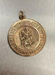 9ct Gold St Christopher Medal Pendant 6.9g