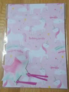 PINK UNICORN DESIGN GIFT WRAP AND STAR TAG SET - 2 SHEETS & 2 TAGS