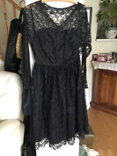 Antique Vintage black net Dress. Genuine 1940s