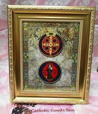 GOLD SAINT ST. BENEDICT IN A FINE DETAILED SCROLL WORK SATIN GOLD FRAME