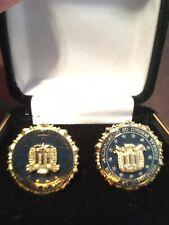 FBI Justice Department Cufflinks Gift Box Law Enforcement Gold Plate Enamel