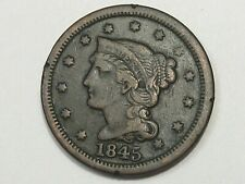 VF 1845 US Braided Hair Large Cent Coin.  #150