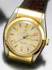 ROLEX OYSTER PERPETUAL AUTOMATIC WATCH GREEN GOLD AND STEEL HOODED BUBBLE BACK
