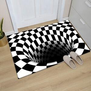 3D Vortex Illusion Carpet  Door Floor Mat Abstract Geometric Optical DoormAU