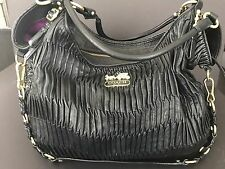 Coach Madison Gathered Leather Large Shoulder Bag Brass/Black #15931 MSRP $1,200