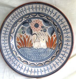 Vtg Hand Decorated & Burnished Pottery Charger/Wall Art, Tonala, Mexico Squirrel