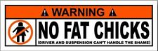 WARNING NO FAT CHICKS STICKER
