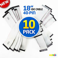"LOT of 10 18"" inch 40 Pin Wire 3-Connector Parallel ATA IDE Flat Ribbon Cable"