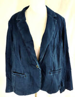 Lane Bryant Blazer Jacket Womens Plus Size 28 Dark Blue Jean Wash Stretch Fitted