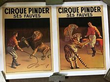 2 Vintage Original Pinder Circus Posters Lion And Tiger Circa 1930