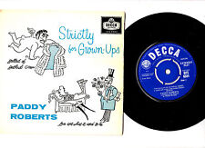 """COMEDY"".PADDY ROBERTS.STRICTLY FOR GROWN-UPS.UK ORIG 7"" EP & PIC/SL.EX-/EX"