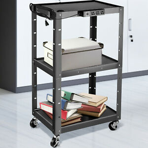 VEVOR Steel AV Cart Media Cart with Cord Management 24-42 Inch Height Adjustable