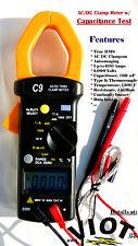 TRMS AC DC Clamp Meter Ammeter Digital Multimeter+Capacitor Tester HVAC Tool New