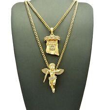 Hip Hop Baby Angel, Jesus Pendant Concave Cuban Chain 2 Necklace Set N0005G
