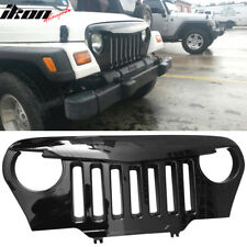 Fits 97-06 Jeep Wrangler TJ V1 Angry Bird Style Grille Gloss Black ABS