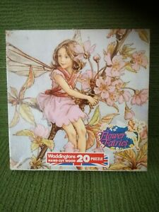 FLOWER FAIRIES 20 PIECE HAND CUT WOOD JIGSAW PUZZLE - WADDINGTONS 1985 (#01253)
