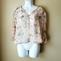 KimChi Blue Sheer Top Womens Size S Small Pink Floral Button Neck 3/4 Sleeve