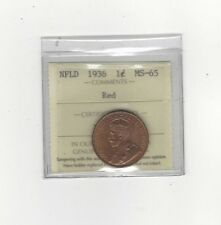 **1936**, ICCS Graded Newfoundland Large One Cent, **MS-65**