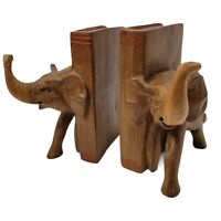 Vintage Elephant Wood Bookends Hand Carved in Kenya Besmo Trunk Up