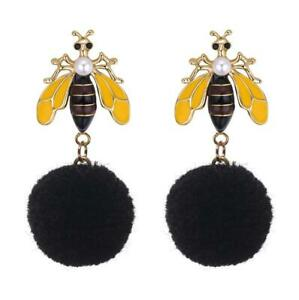 BLACK BUMBLE QUEEN BEE POM POM  EARRINGS, 42 x 19mm, GIFT BAG & FAST FREE POST