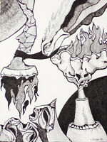 """Original Pen and Ink Drawing THE FEEDING by LYNN KAUFFMAN 5.5""""x7.5"""" ink on paper"""