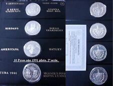 V centenario Descubrimiento America. Serie 2ª. 4 monedas de ONZA PLATA año 1991.