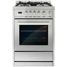 24 In. 2.73 Cu. Ft. Single Oven Gas Range With 4 Burners Stainless Steel
