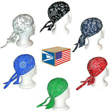 6 LOT Paisley Colors HEAD WRAP DU DO DOO RAG DURAG TIE BACK BIKER MOTORCYCLE HAT
