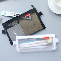 Clear Exam Pencil Case S/L Transparent Simple Mesh Zipper Stationery Bag