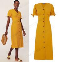 OASIS Button Through Linen Mix Midi Shirt Dress in Yellow Sizes 6 to 18