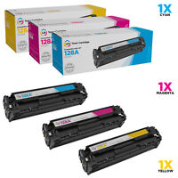 LD Remanufactured Replacements for HP 128A Toner Cartridges: Cyan Magenta Yellow