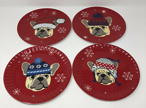 Cynthia Rowley Christmas Dog Set Of 4 Plates Hard Platic Round Red 8 Inch