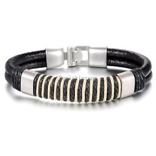 Retro Black Brown Double Leather Cord String Strap Bracelet Wristband for Men