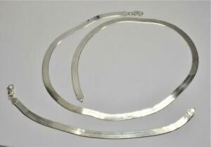 """Stamped 925 ITALY Sterling Silver Flat Serpent Set 24"""" Chain 8 1/2"""" Bracelet 37g"""