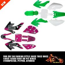 Green/White PLASTICS + Pink Stickers Pit Bike CRF50 110cc 120cc Pitbike Fairing
