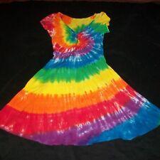 Tie Dye Woman's Twist Front Dress Medium Rainbow Spiral Hand Tye Dyed Hippie