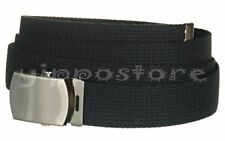 "Black Canvas Military Army Web Belt Unisex Nickle Polished Buckle 56"" Cut To Fit"