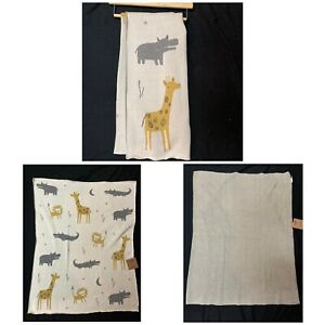 Ocean Kids Knit Cotton Baby Blanket Ivory Jungle Safari 32x40 Made In India NWT