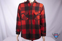 Vintage WOOLRICH Red Black Buffalo Plaid long sleeve wool shirt Mens jacket M