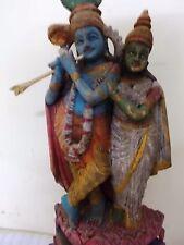 Hindu God Krishna w Radha Vintage Statue Sculpture Antique Figurine Asian Art