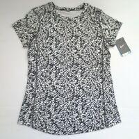 Nike Women Pronto Miler Printed Shirt - 872073 - Black White 100 - Size S - NWT