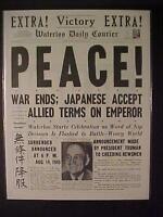VINTAGE NEWSPAPER HEADLINE ~WORLD WAR 2 VICTORY JAPAN SURRENDERS PEACE WWII 1945