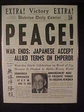 VINTAGE NEWSPAPER HEADLINE ~WORLD WAR 2 VICTORY PEACE JAPAN SURRENDERS WWII ENDS