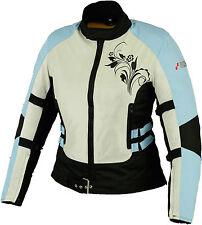 Women Ladies Motorcycle Motorbike Scooter Cordura Textile Jacket Blue Size 6-16
