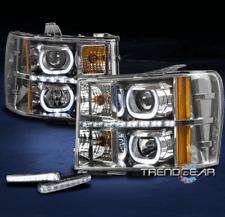 FOR 2007-2013 GMC SIERRA U-BAR HALO LED CHROME PROJECTOR HEADLIGHT LAMP +DRL KIT